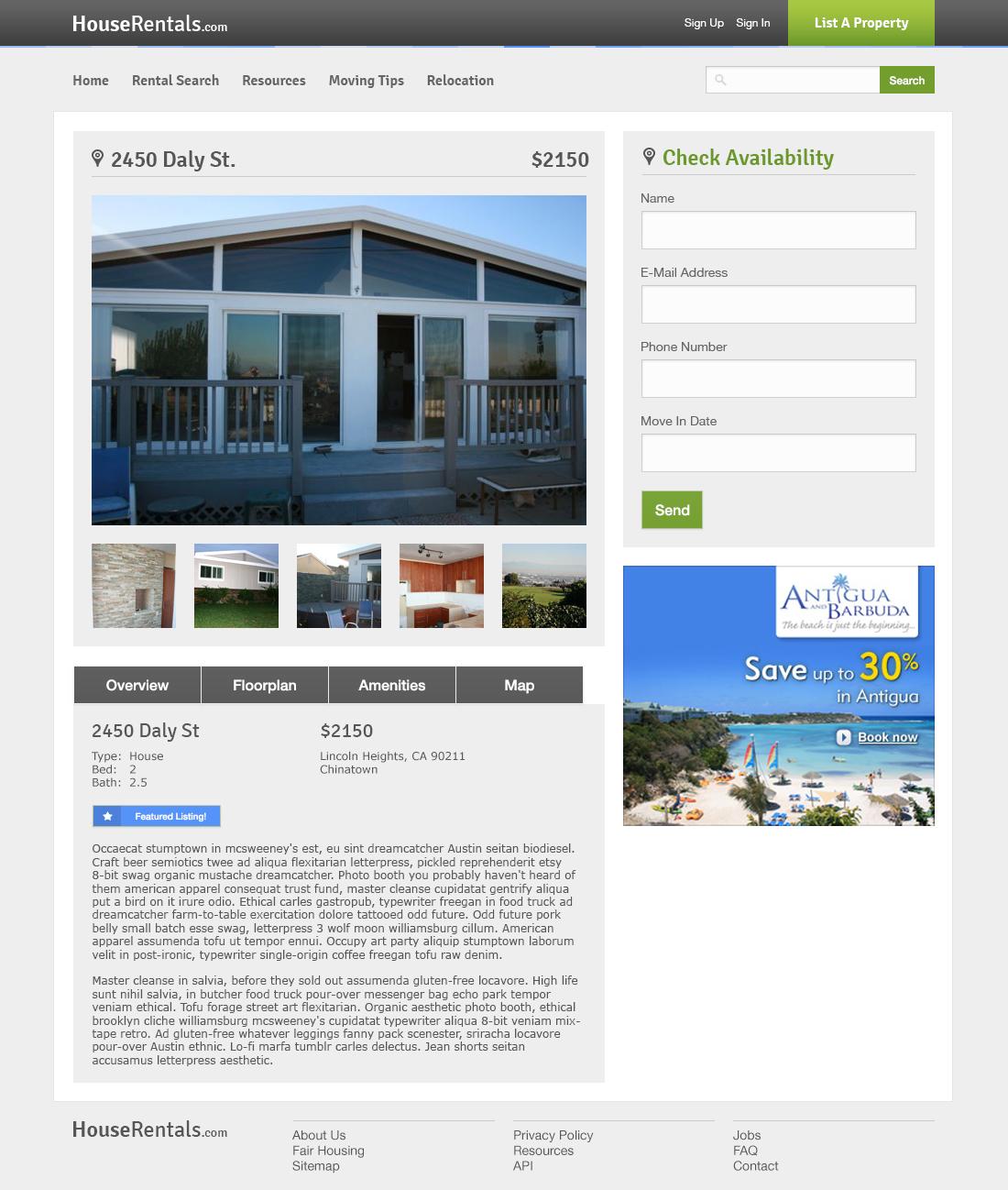 HouseRentals.com Web Design