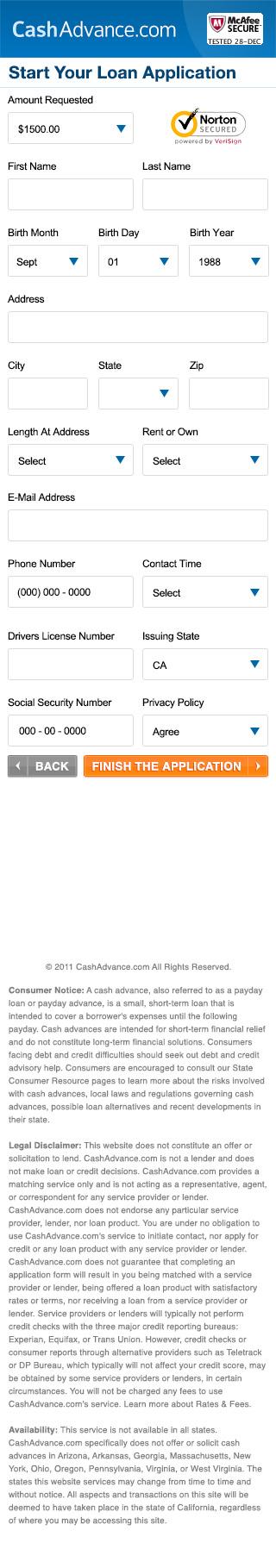 CashAdvance.com Apply Page