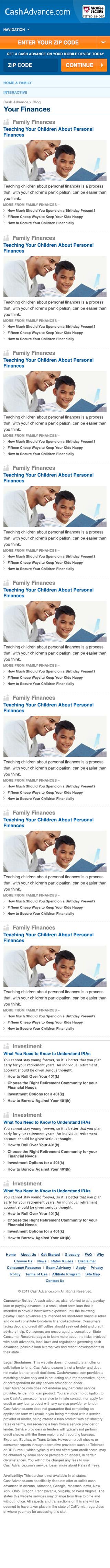 CashAdvance.com Finances Page