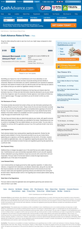 CashAdvance.com Rates & Fees Page